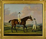 Francis Sartorius Portrait of Henry Comptons Race Horse Cottager Held by a Groom with Jockey and a Race Beyond painting