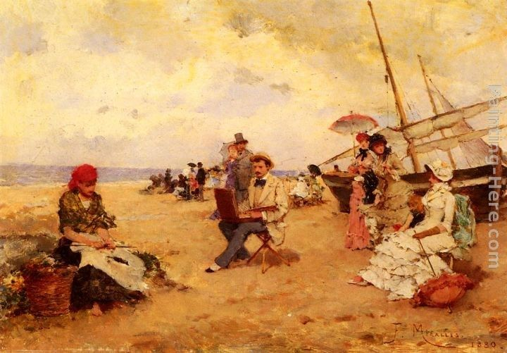 Francisco Miralles The Artist Sketching On A Beach