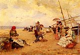 Francisco Miralles The Artist Sketching On A Beach painting
