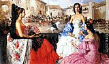 Francisco Rodriguez San Clement Elegant Women Watching a Bull Fight painting
