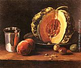 Francois Bonvin Still life with a Pumpkin, Peaches and a Silver Goblet on a Table Top painting