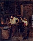 Francois Bonvin The Blacksmith's Shop painting