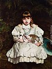 Frank Holl Portrait of a Young Girl Holding a Pet Rabbit painting