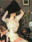 Frank Weston Benson Lady Trying On a Hat painting