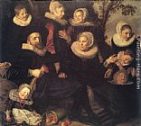 Frans Hals Family Portrait in a Landscape painting