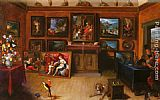 Frans the younger Francken A Picture Gallery With A Man Of Science Making Measurements On A Globe painting