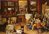 Frans the younger Francken Pictura, Poesis and Musica in a Pronkkamer painting