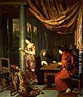 Frans van Mieris Interior with figures playing Tric Trac painting