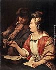 Frans van Mieris The Music Lesson painting