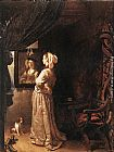 Frans van Mieris Woman before the mirror - detail painting