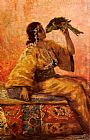 Frantz Charlet A Moroccan Beauty Holding A Parrot painting