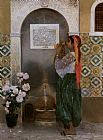 Frantz Charlet Algerian Girl Beside a Fountain painting