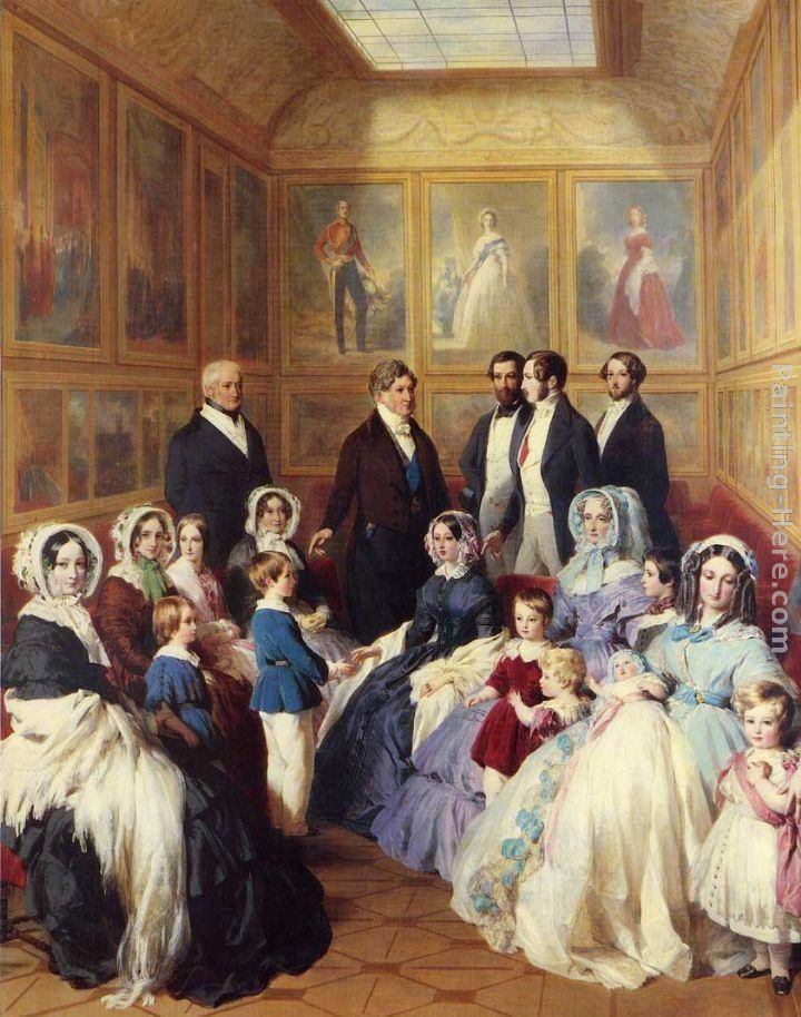 Franz Xavier Winterhalter Queen Victoria and Prince Albert with the Family of King Louis Philippe at the Chateau D'Eu
