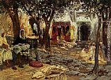 Frederick Arthur Bridgman Idle Moments An Arab Courtyard painting
