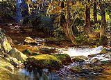 kerns river valley california Paintings - River Landscape with Deer