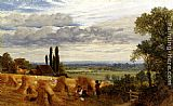 Frederick William Hulme Harvesting Near Newark Priory, Ripley, Surrey painting