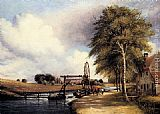 Frederick William Watts The Lock At Stanton On The Little Ouse In Norfolk painting