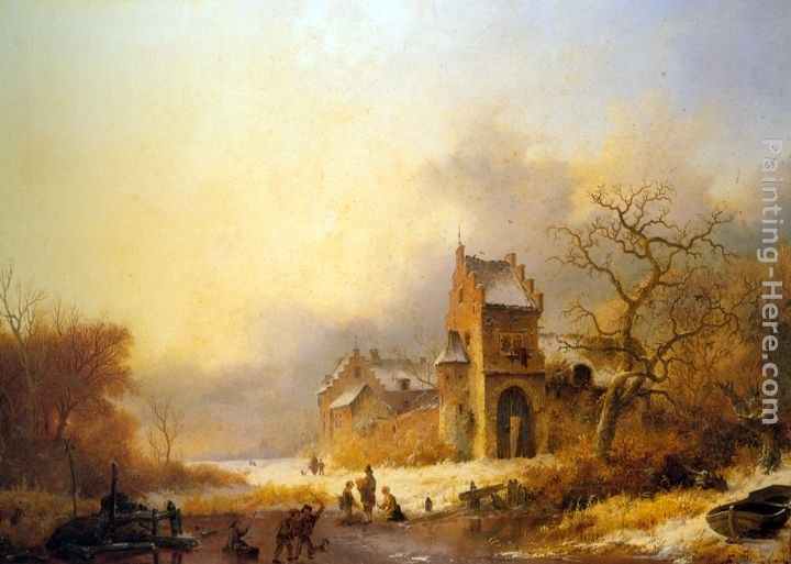 Frederik Marianus Kruseman Figures on a frozen river in a winter landscape