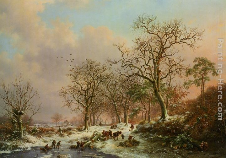 Frederik Marianus Kruseman Wood gatherers in a winter landscape with a castle beyond