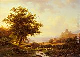 Frederik Marianus Kruseman An Extensive River Landscape With A Castle On A Hill Beyond painting