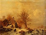 Frederik Marianus Kruseman Figures In A Frozen Winter Landscape painting