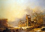 Frederik Marianus Kruseman Figures on a frozen river in a winter landscape painting