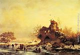 Frederik Marianus Kruseman Winter Landscape with Skaters on a Frozen River beside Castle Ruins painting