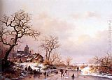 Frederik Marianus Kruseman Winter townsfolk skating on a frozen waterway near a fortified mansion at dusk painting