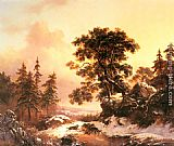 Frederik Marianus Kruseman Wolves in a Winter Landscape painting