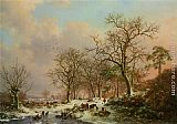 Frederik Marianus Kruseman Wood gatherers in a winter landscape with a castle beyond painting