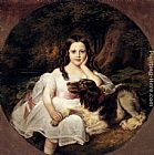 Friedrich August von Kaulbach A Young Girl Resting In A Landscape With Her Dog painting