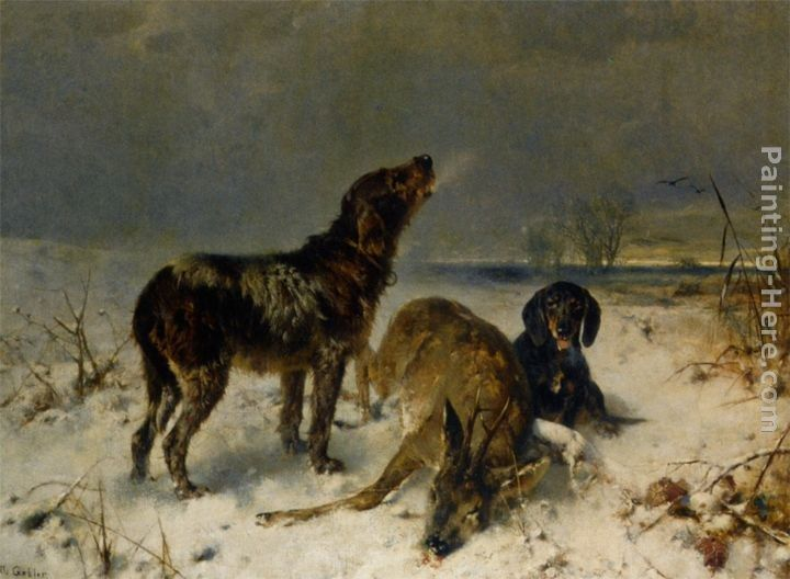 Oil Painting E Carter Hunting Dogs