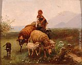 Friedrich Otto Gebler Shepherdess painting