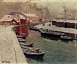 Fritz Thaulow A Snowy Harbor View painting