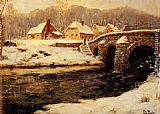 Fritz Thaulow A Stone Bridge Over A Stream In Winter painting