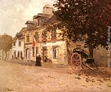 eze cote dazur france Paintings - A Village Street In France