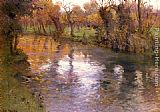Fritz Thaulow An Orchard On The Banks Of A River painting