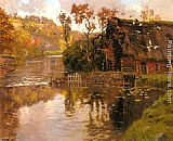 Fritz Thaulow Cottage By A Stream painting