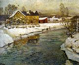 Fritz Thaulow Cottage by a Canal in the Snow painting