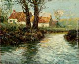 Fritz Thaulow House By The Water's Edge painting
