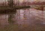 Fritz Thaulow On A French River painting