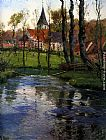 Fritz Thaulow The Old Church by the River painting