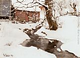 Fritz Thaulow Winter on the Isle of Stord painting