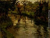 Fritz Thaulow Woodland Scene With A River painting