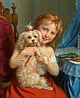 young girl on a Framed Prints - Young Girl with Bichon Frise