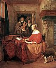 Gabriel Metsu A Woman Seated at a Table and a Man Tuning a Violin painting