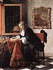 Gabriel Metsu Man Writing a Letter painting
