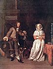 Gabriel Metsu The Hunter's Gift painting