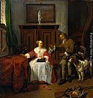 Gabriel Metsu The Hunter's Present painting