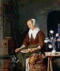 Gabriel Metsu Woman Eating and Feeding her Cat painting